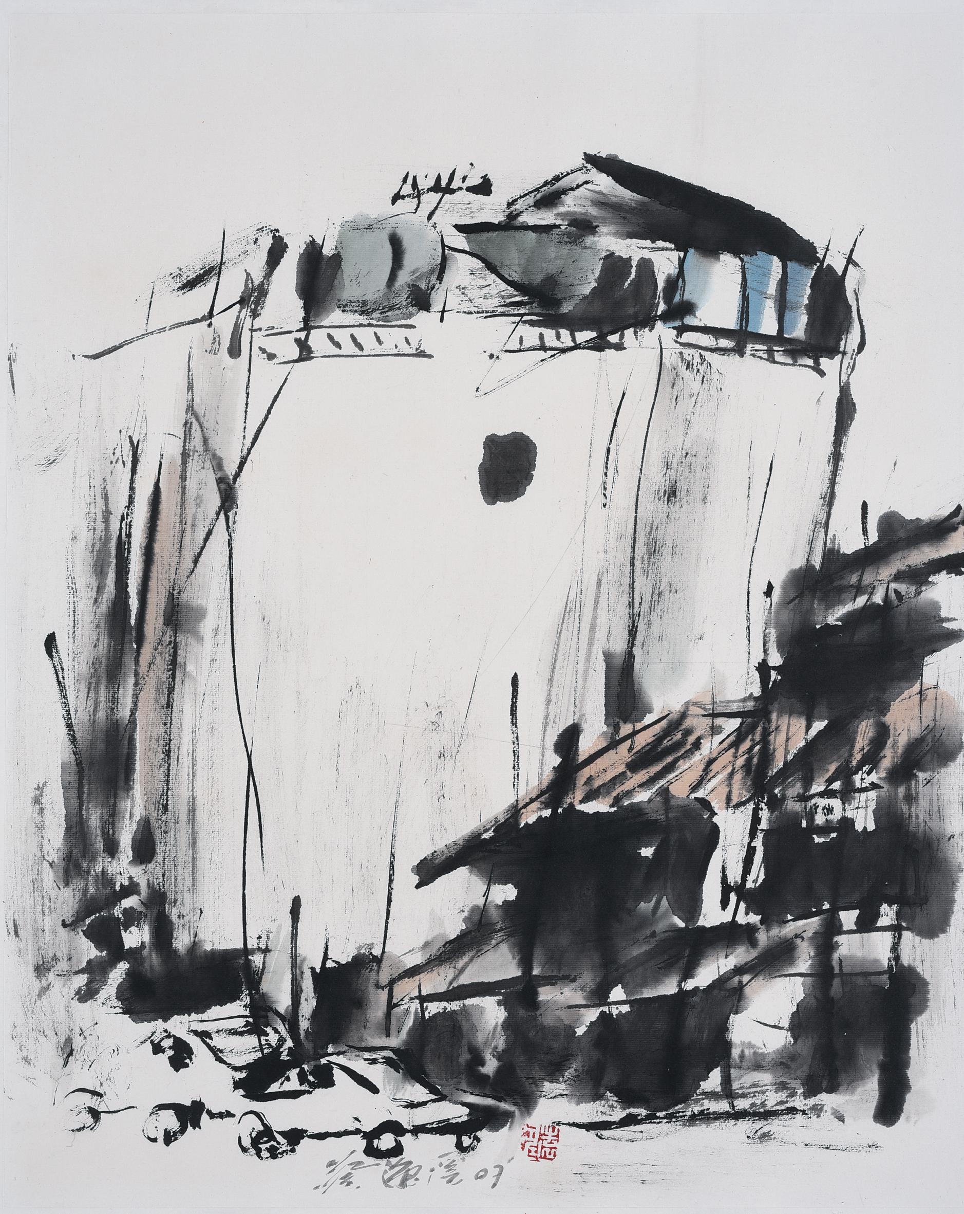 Chua Ek Kay Shophouse Series, ink and colour on paper, 57 x 46 cm, 2007