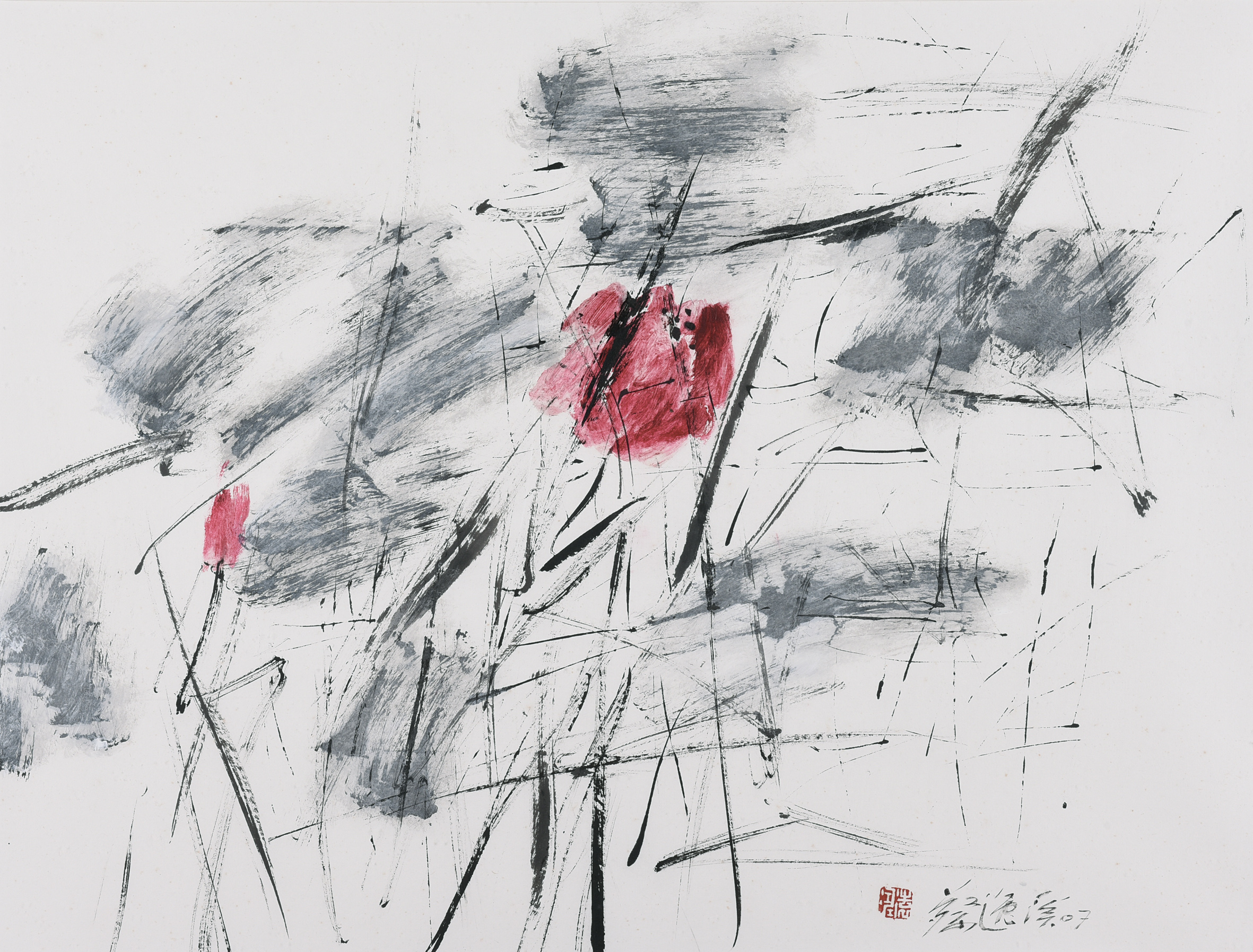 Chua Ek Kay, Lotus in Red 2, ink and colour on paper, 52 x 68 cm, 2007
