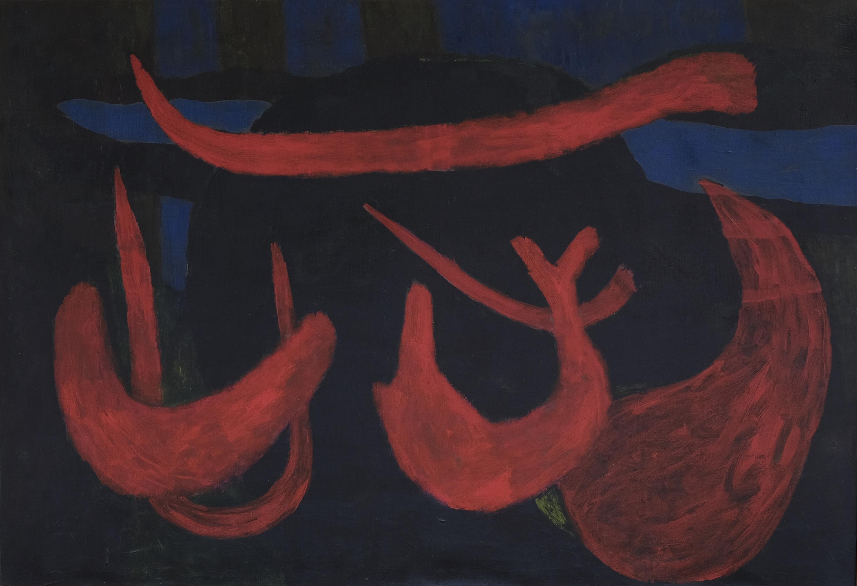Nashar, Nyayian Malam (Night Song), oil on canvas, 88 x 127 cm, 1977