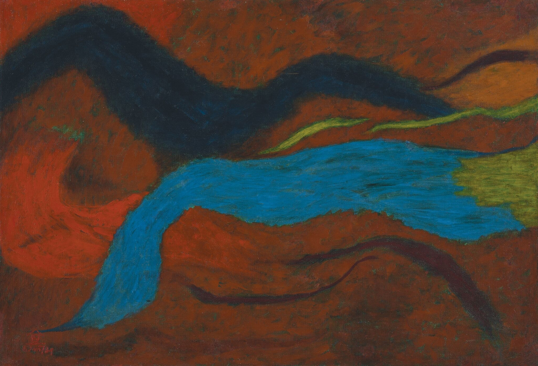 Nashar, Red Abstract, oil on canvas, 65 x 95 cm, 1974