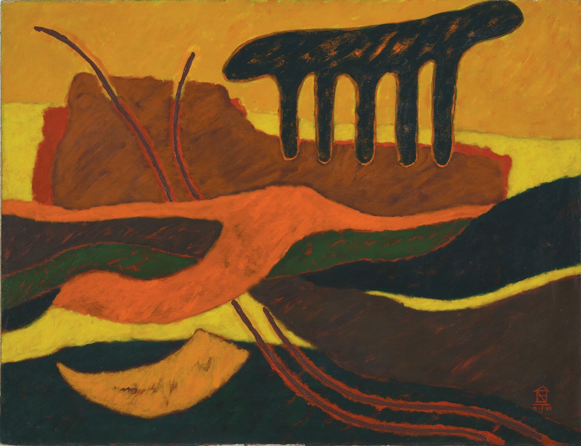 Nashar, Irama, oil on canvas, 70 x 91 cm, 1989