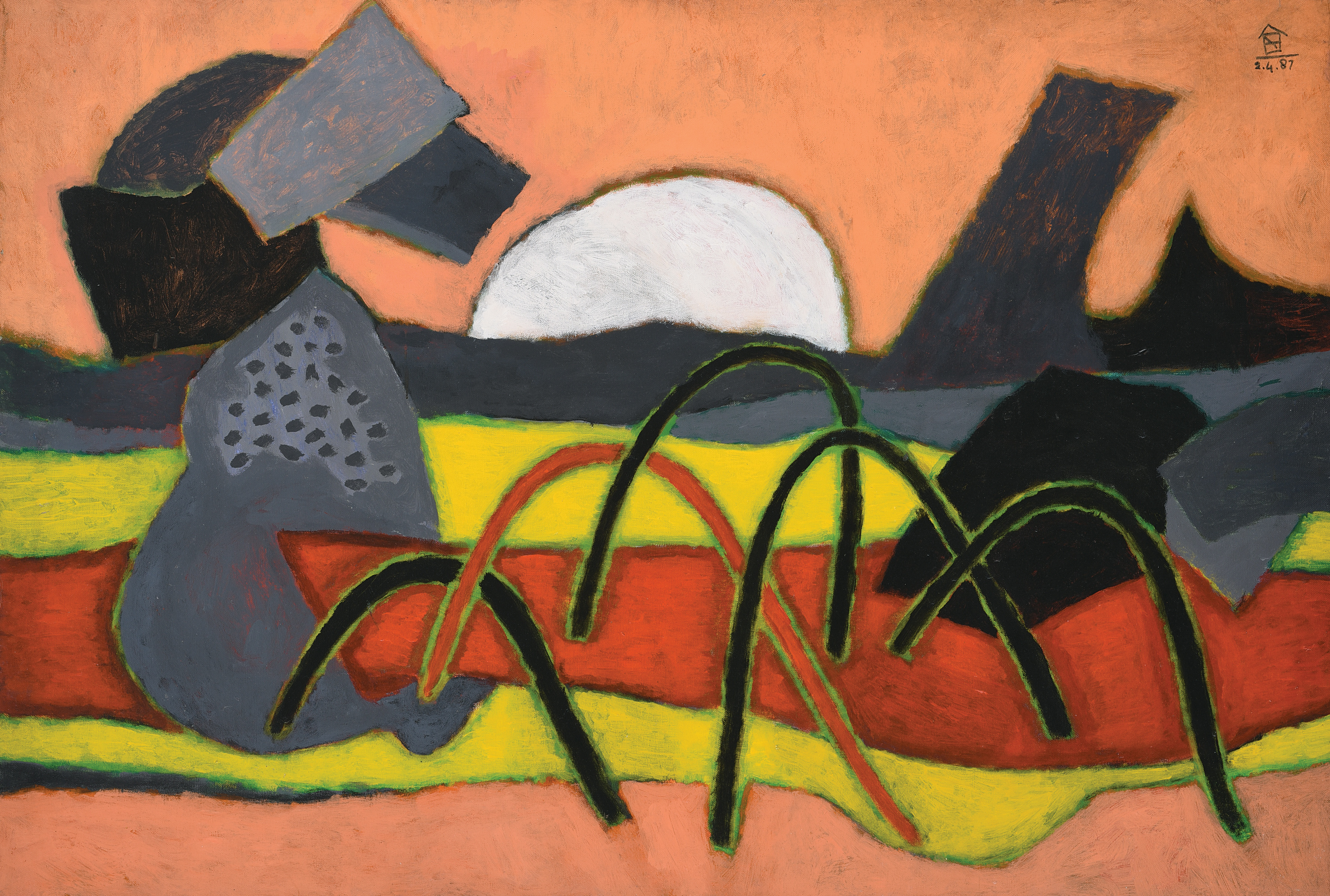 Nashar, By the Shore, oil on canvas, 64.5 x 94 cm, 1987