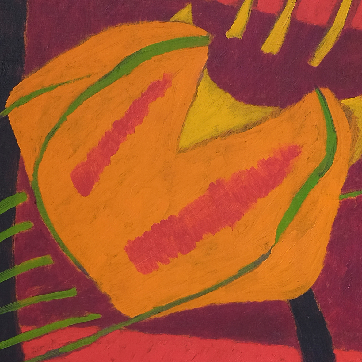 Nashar, Bertumbuh (Growth), oil on canvas, 137 x 88 cm, 1979 (detail)