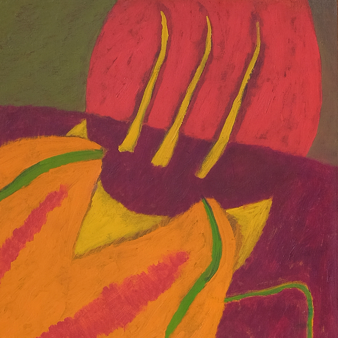 Nashar, Bertumbuh (Growth), oil on canvas, 137 x 88 cm, 1979 (detail)