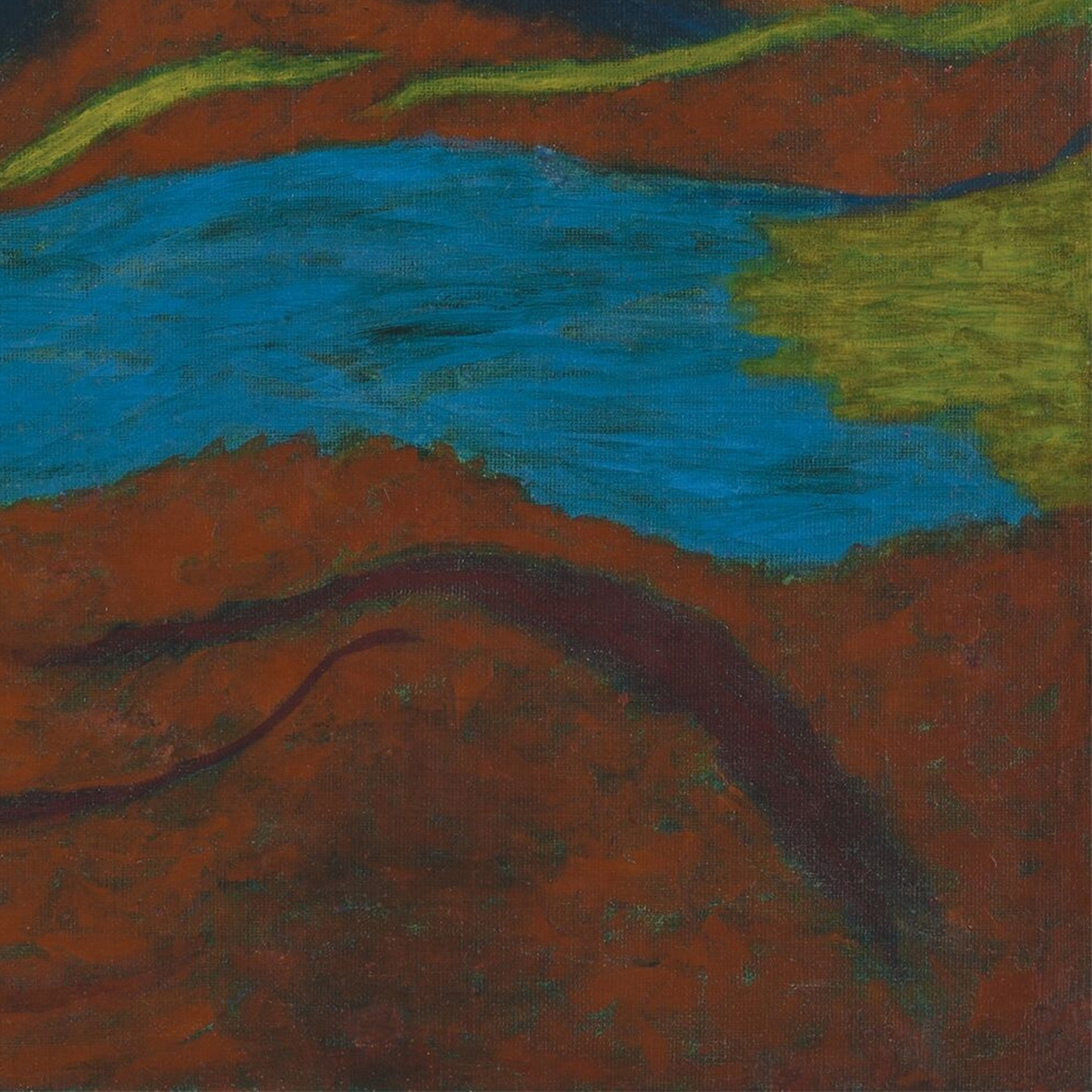 Nashar, Red Abstract, oil on canvas, 65 x 95 cm, 1974 (detail)