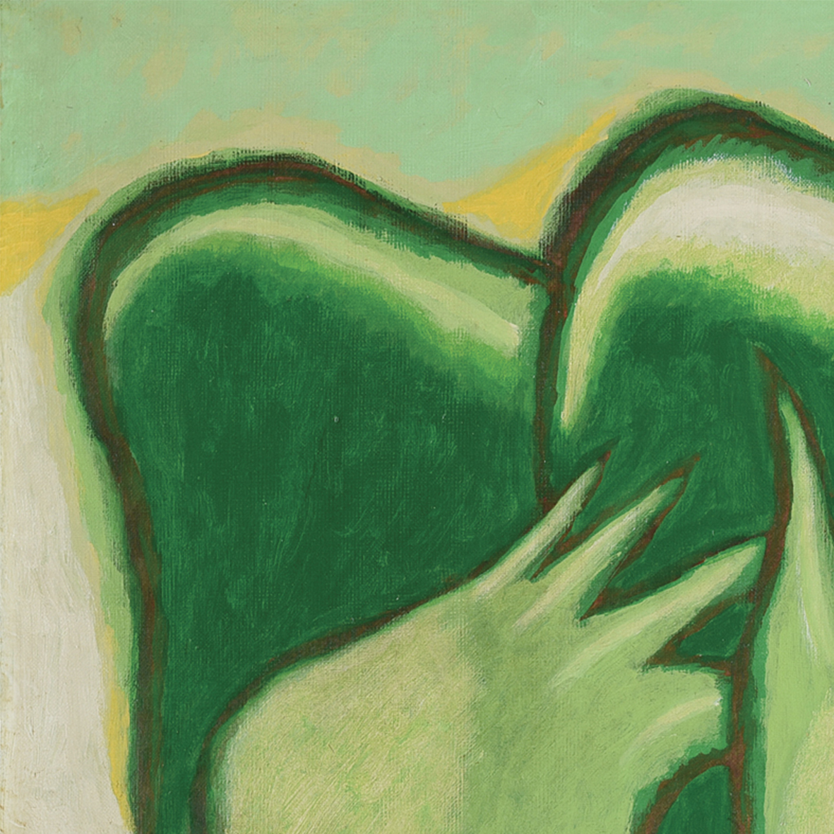 Nashar, Green Rhythm, oil on canvas, 64 x 94 cm, 1987 (detail)