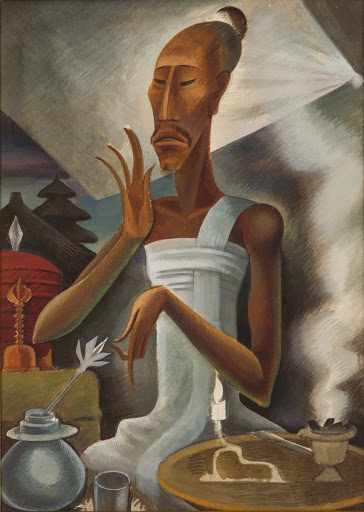 Miguel Covarrubias, Priest with Incense Burner, c. 1930s, gouache on paper, 35 x 25cm. Collection of National Gallery Singapore