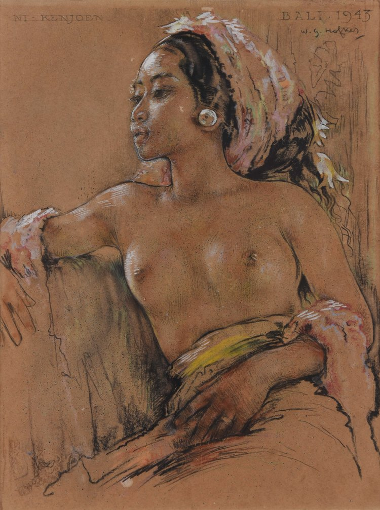 Willem Gerard Hofker, Portrait of Ni Kenjoen, 1943, conte crayon, graphite and pastel on paper, 39.5 x 30 cm. Private collection, Indonesia.