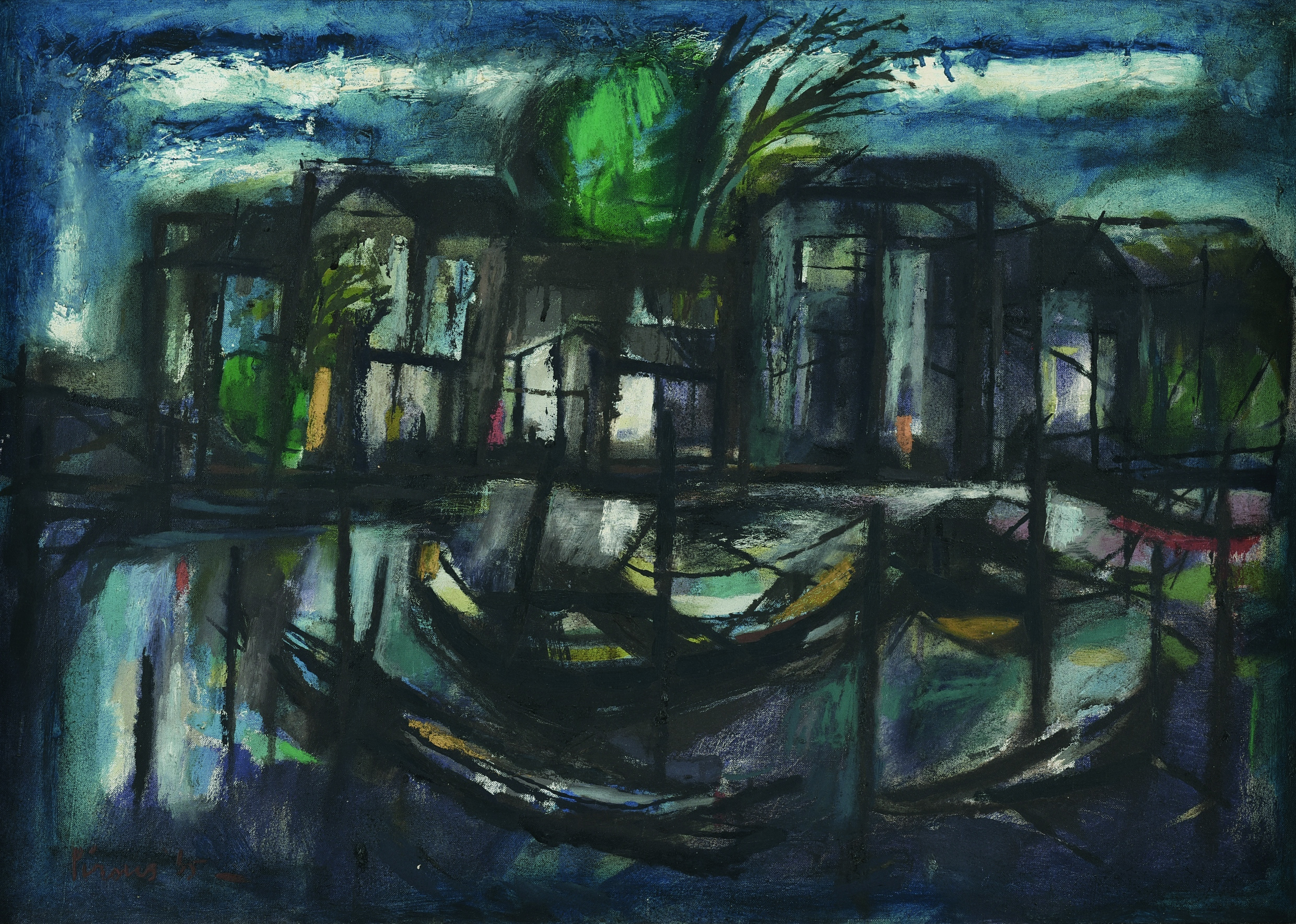 A.D. Pirous, House by the River, 1965, oil on canvas, 50 X 70 cm