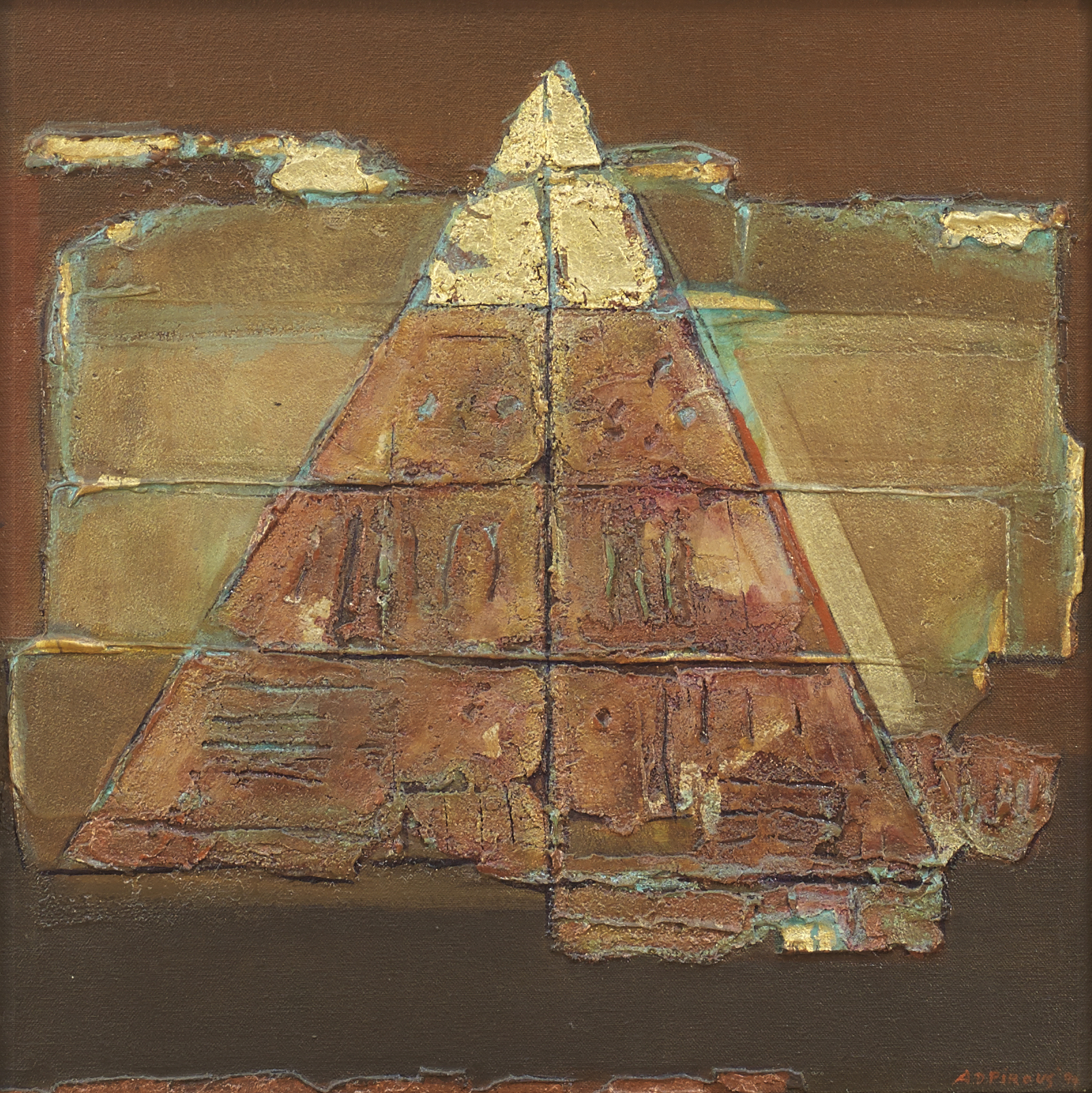 A.D. Pirous, Piramida Puncak Emas, 1994, oil on canvas, 40 x 40 cm