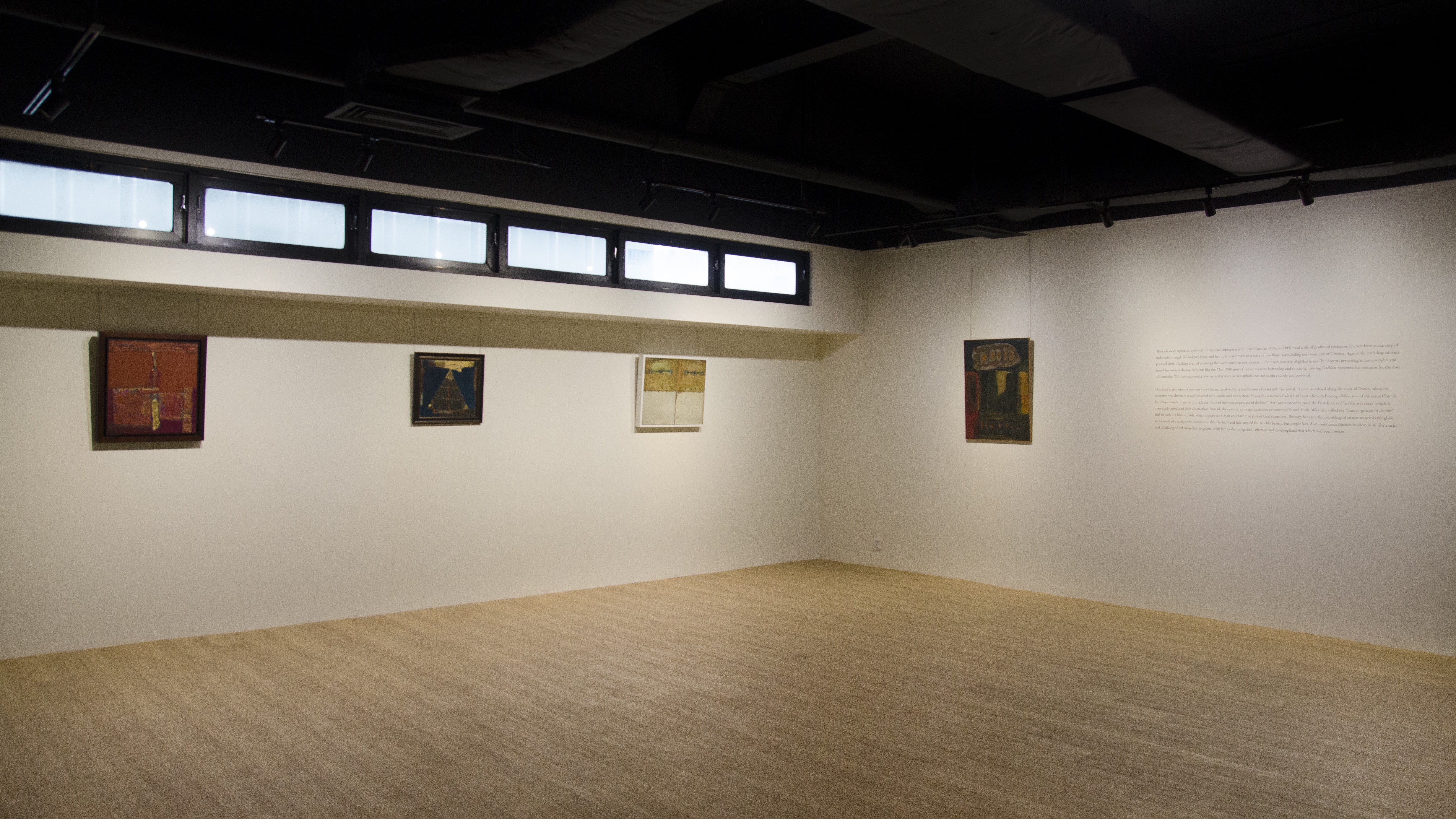 An image of the gallery set up for the exhibition: Umi Dachlan: Metaphors for Humanity