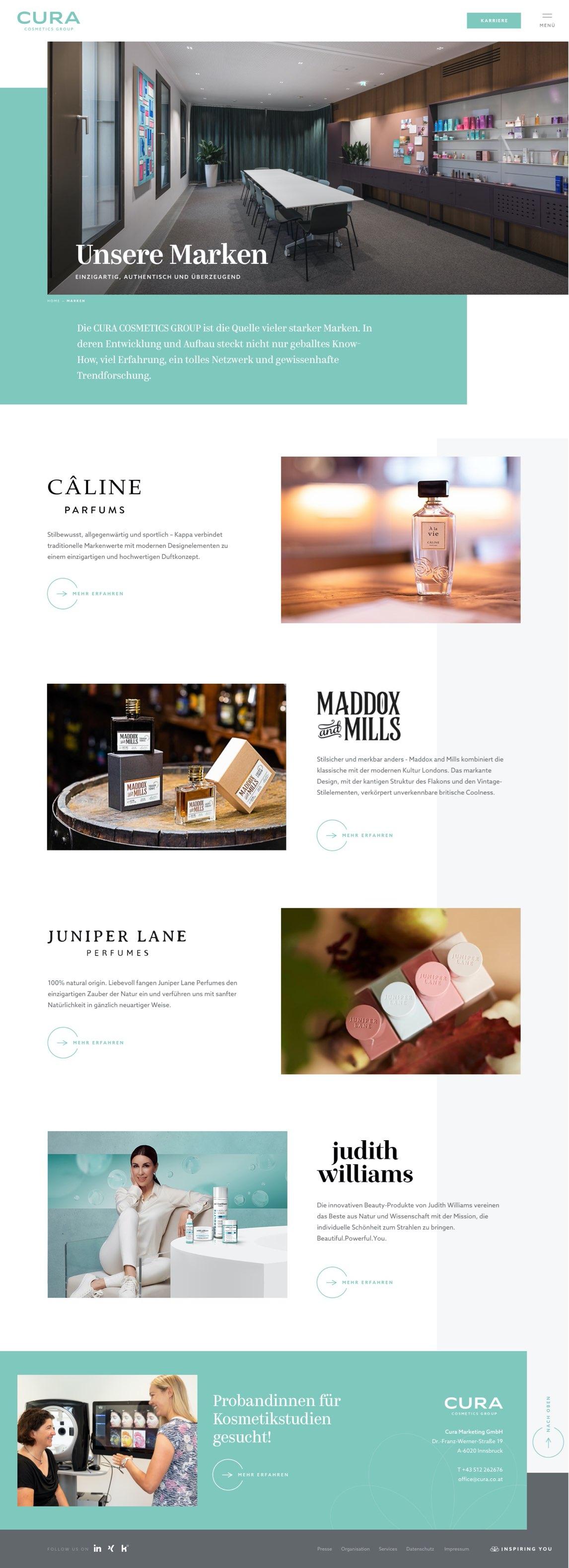 Cura Cosmetics - Webdesign