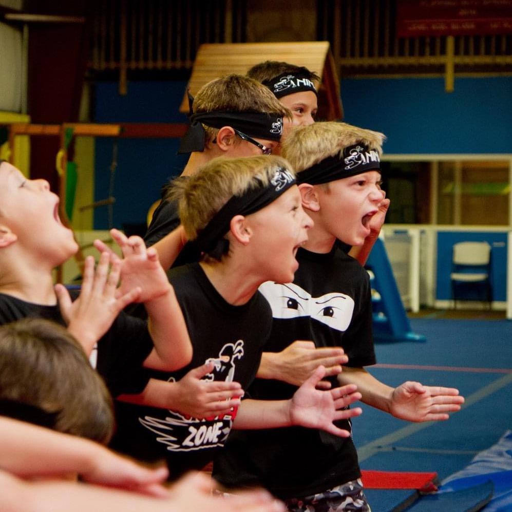 Kids attending a Ninja class
