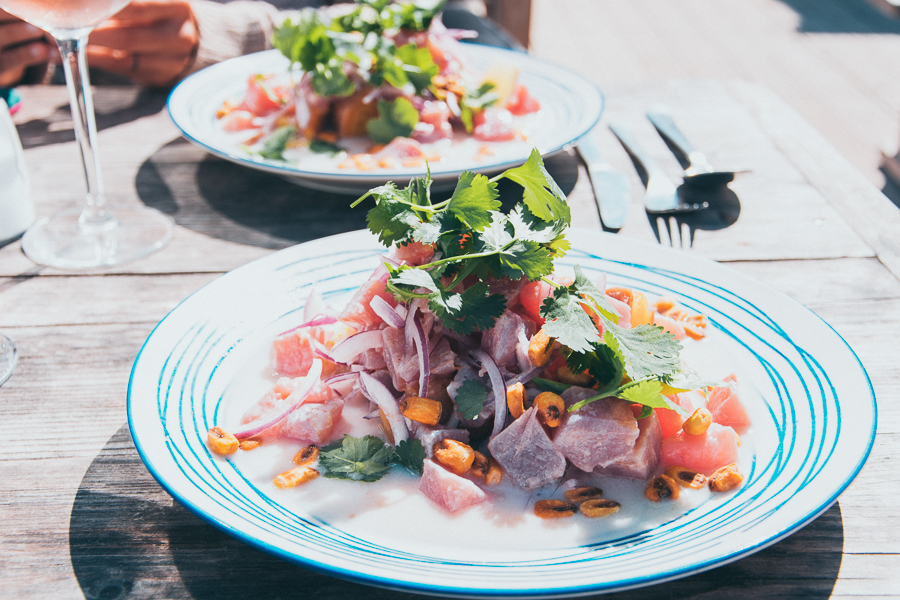 A typical Ceviche dish in the Algarve Portugal