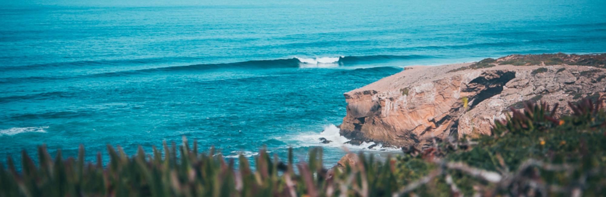An empty perfect wave in Monte Clerigo beach in the Algarve Portugal