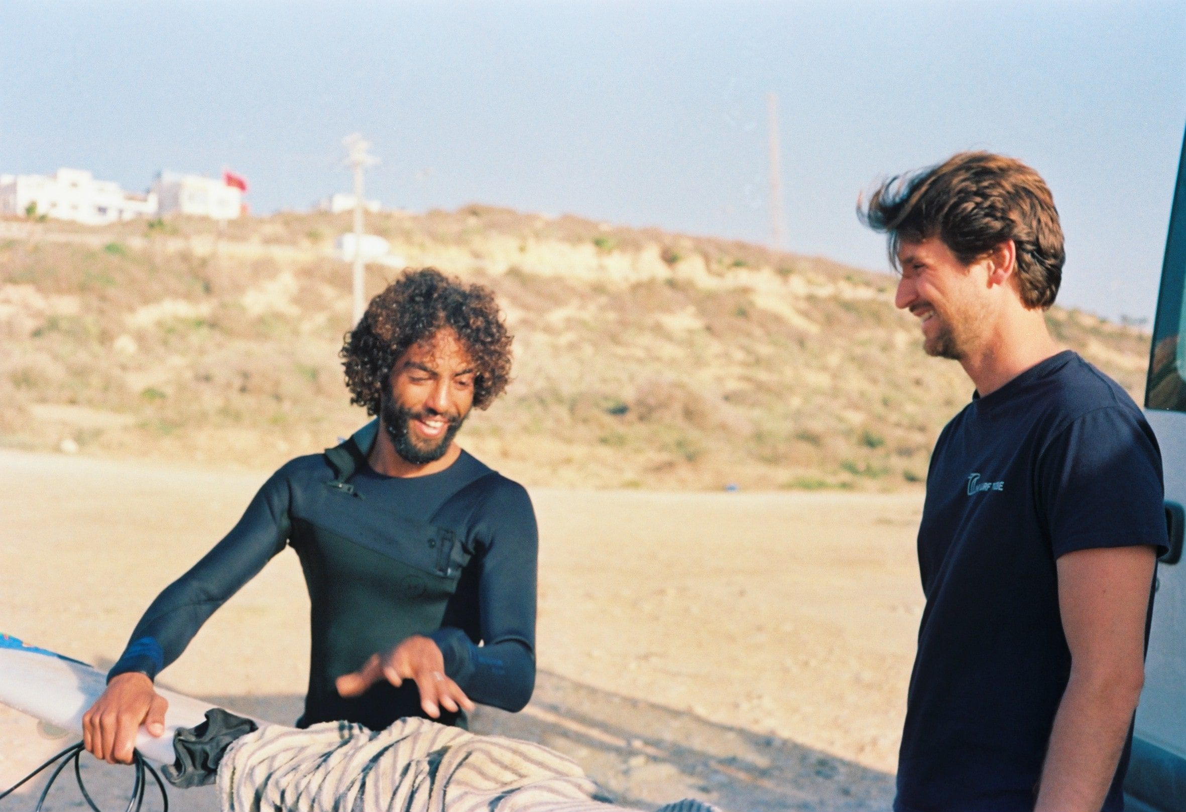 Moroccan Pro Surfer Redouane Regragui with Stefano from The Surf Tribe