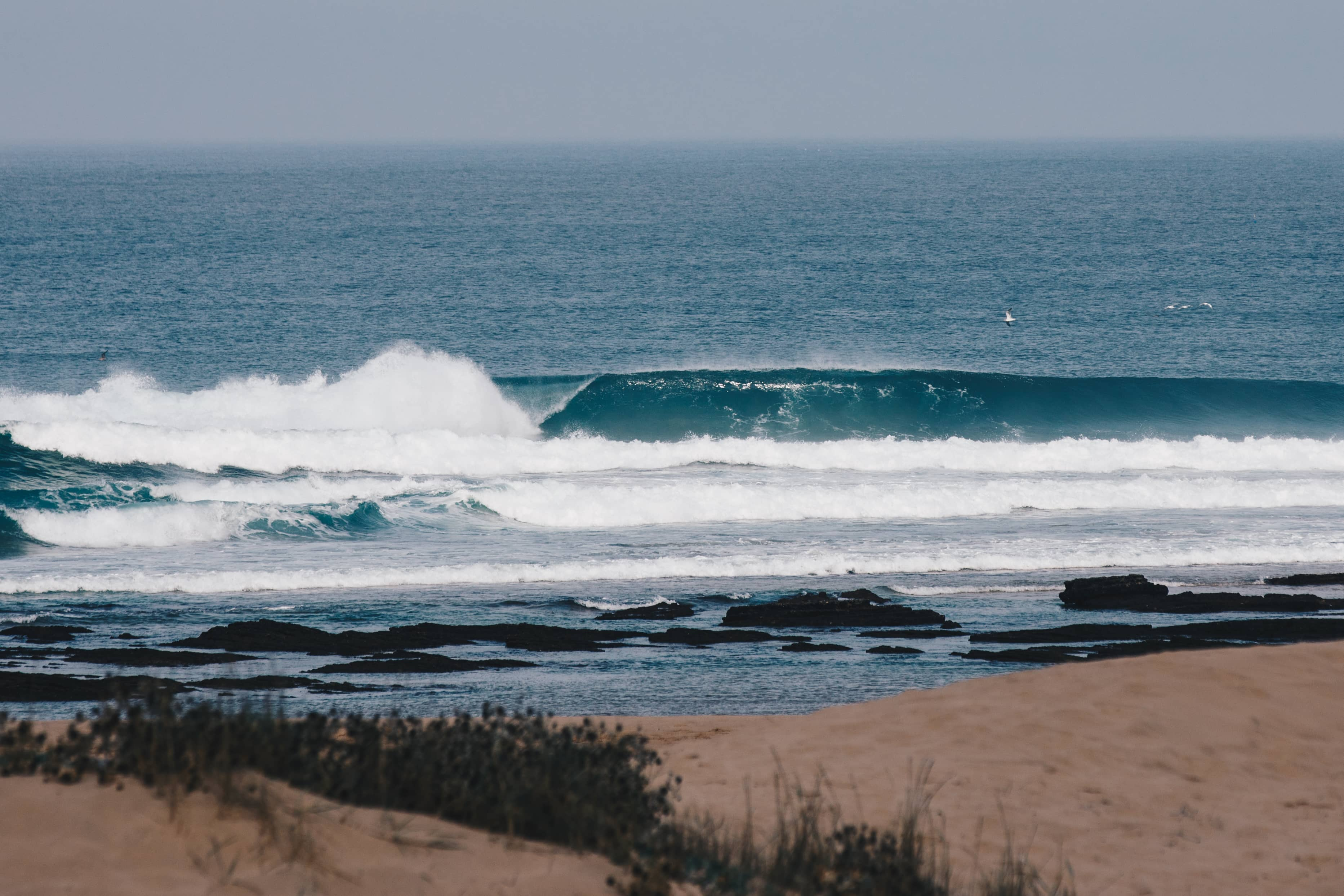 Perfect left wave last Autumn in the South of Portugal Algarve
