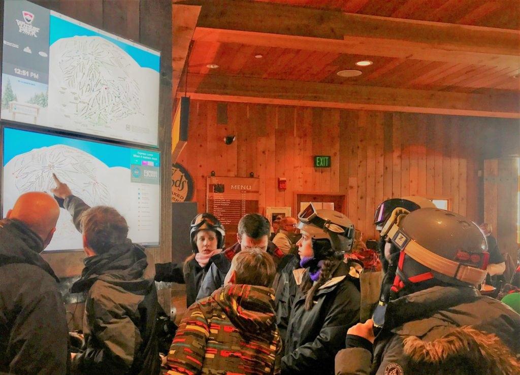 Digital signage kiosks at Winter Parks Sunspot Lodge
