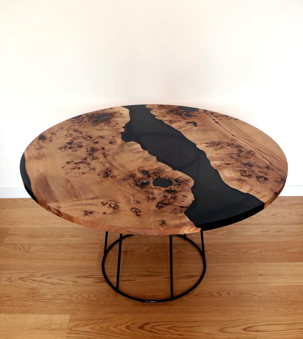 river table loupe orme bois résine epoxy mobilier design tourcoing nord france van henis