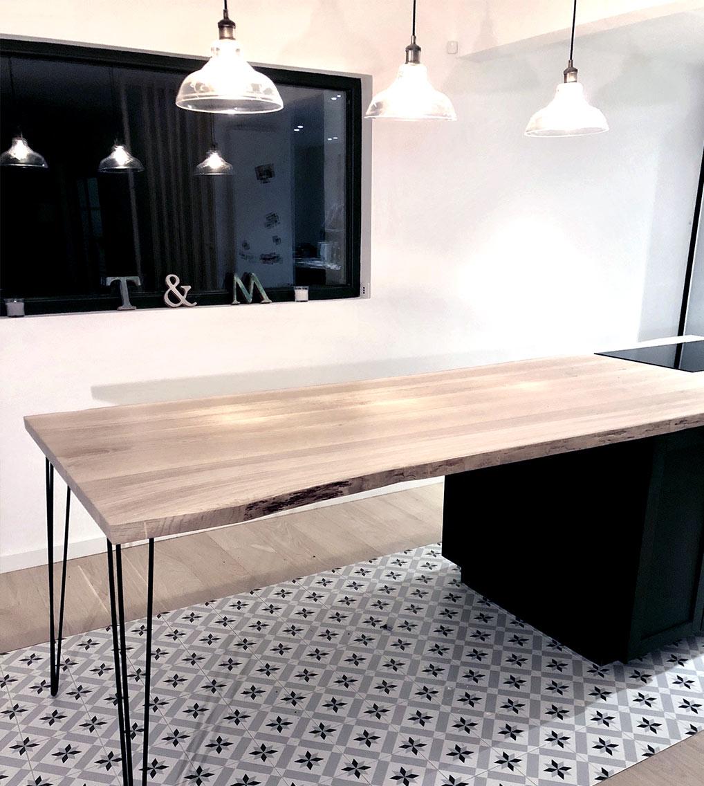 ilot cuisine live edge chene edge mobilier design tourcoing nord france van henis