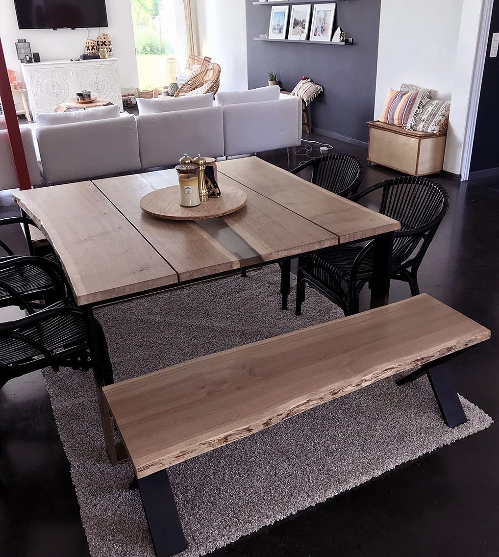 table salle à manger chene résine epoxy mobilier design tourcoing nord france van henis