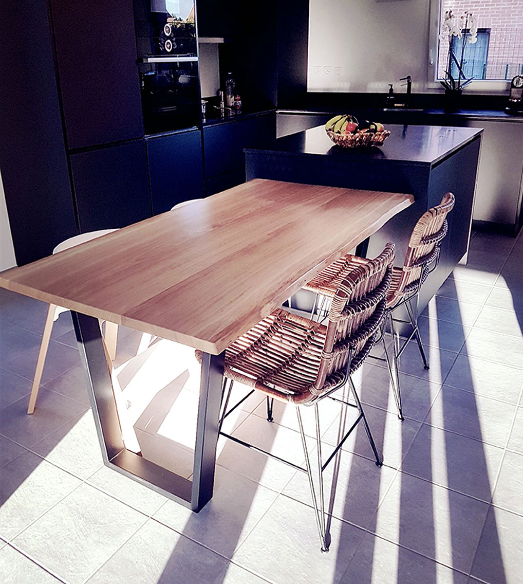 Table live edge chêne mobilier design tourcoing nord van henis
