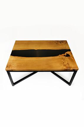table basse en bois d'orme et résine époxy noire opaque design