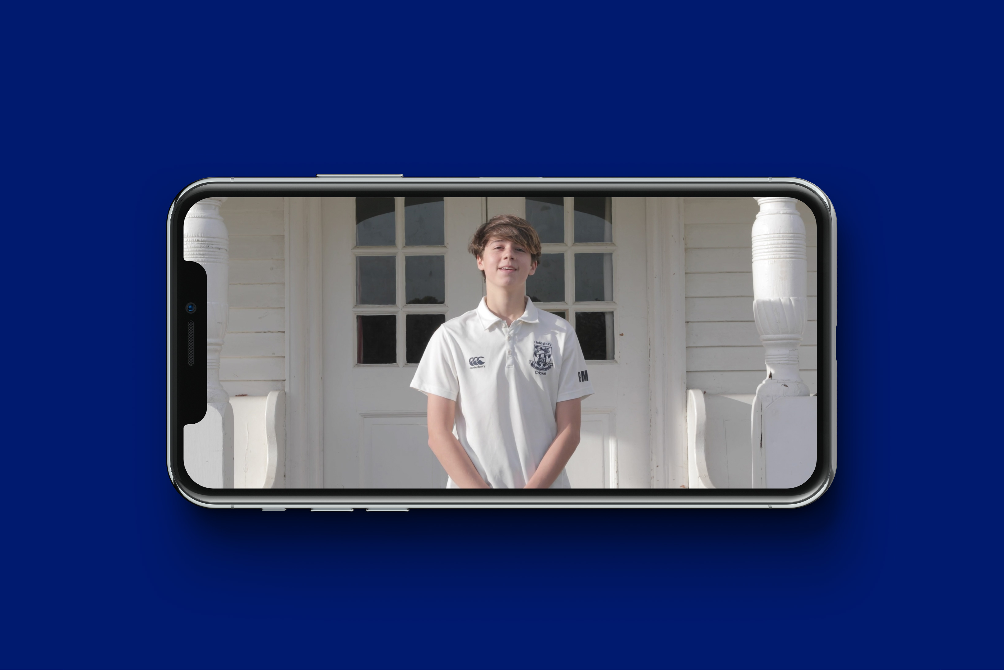 School pupil interview shown on a mobile phone