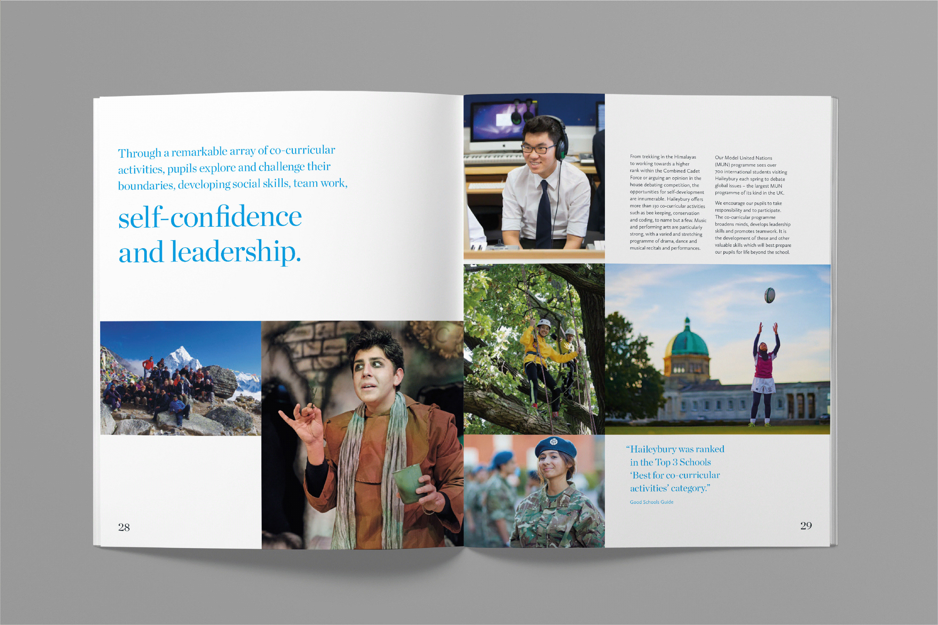 A spread within the Haileybury Prospectus