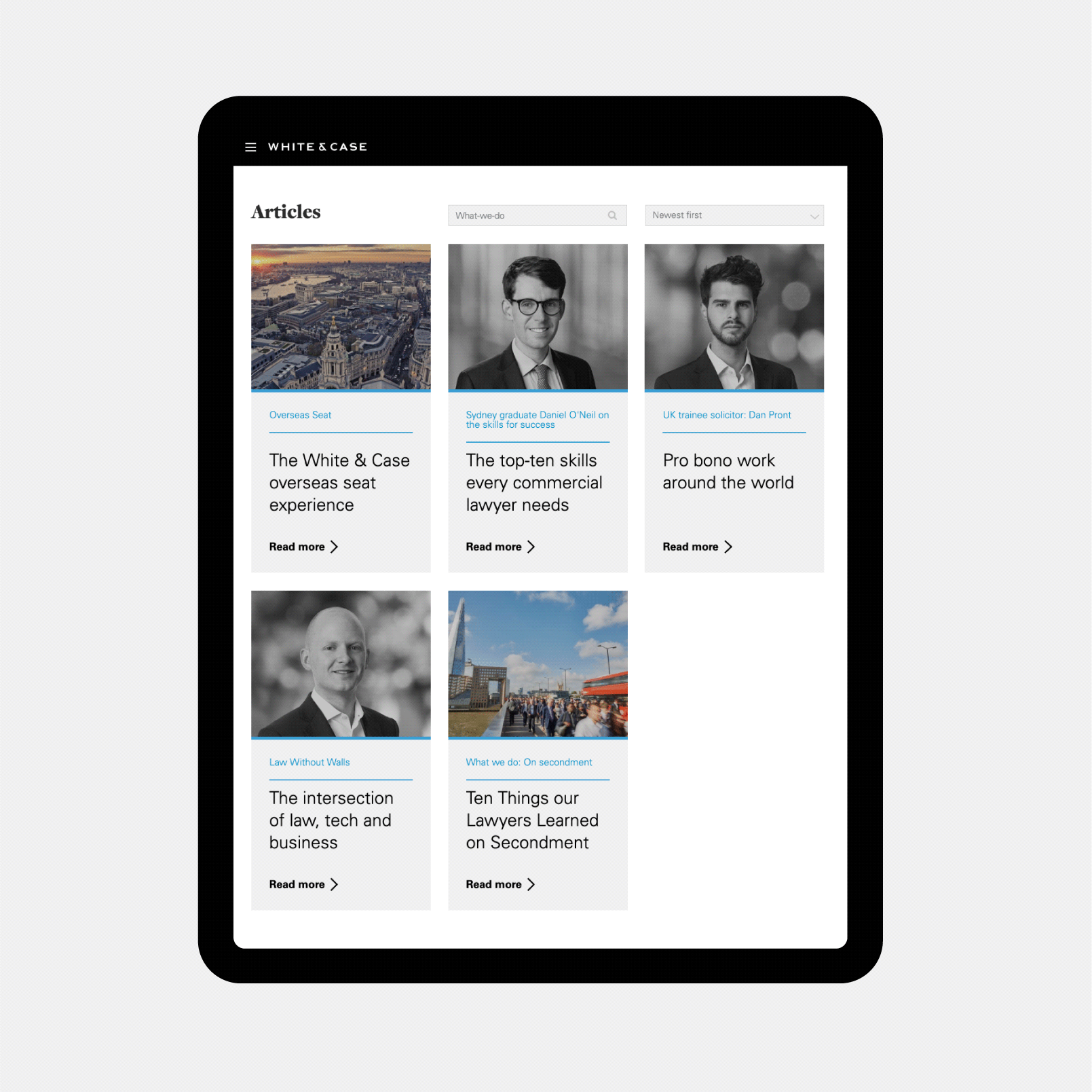Inside White & Case website design preview on a tablet device