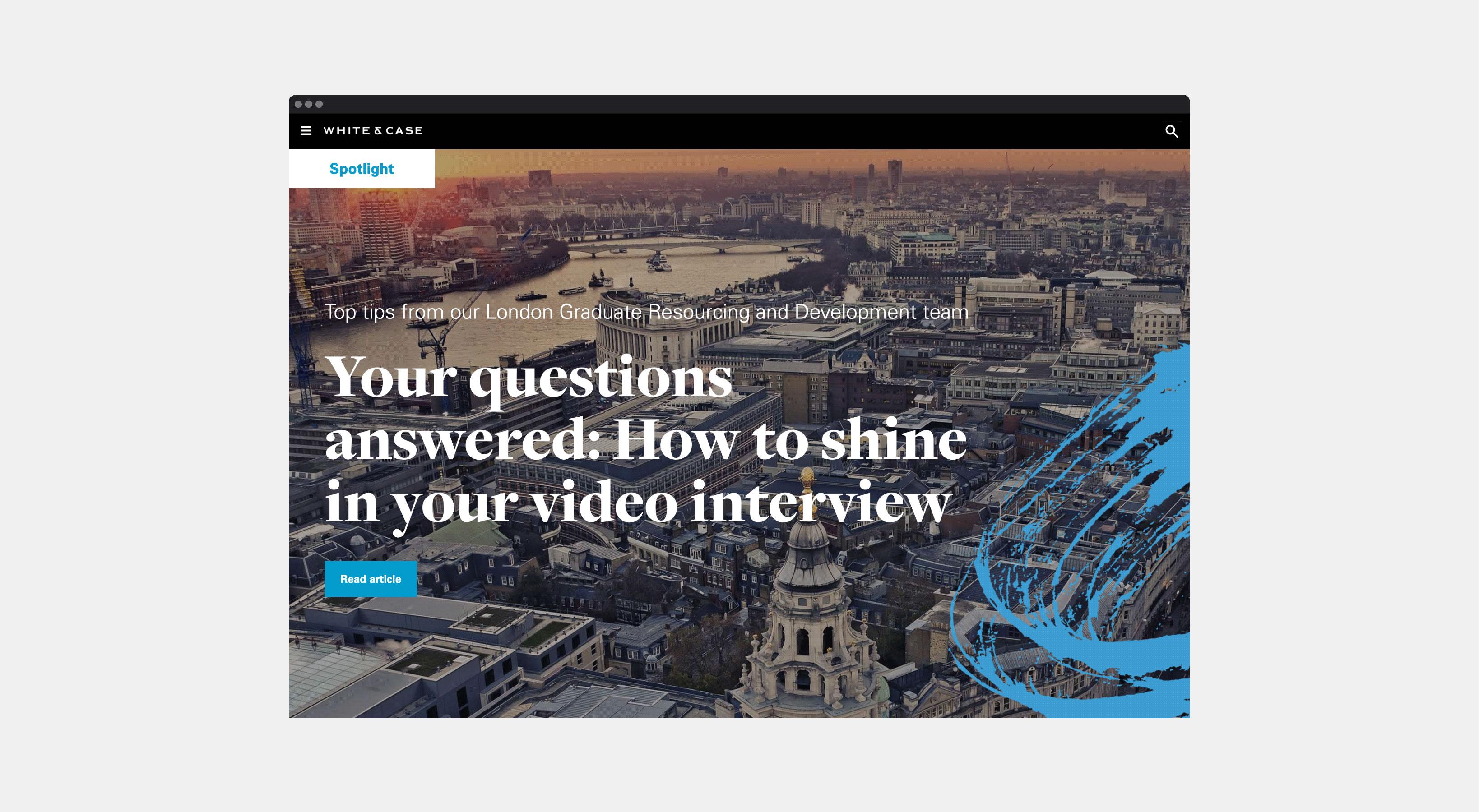 Inside White & Case website design preview
