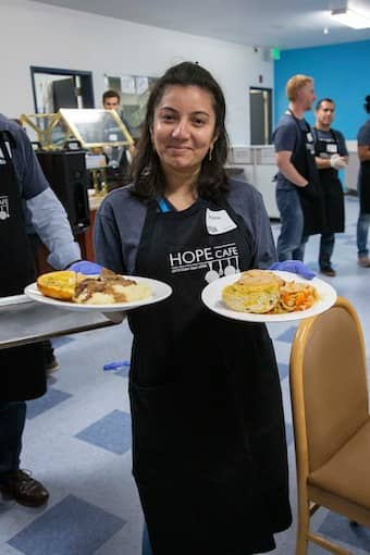 Serve breakfast to homeless people