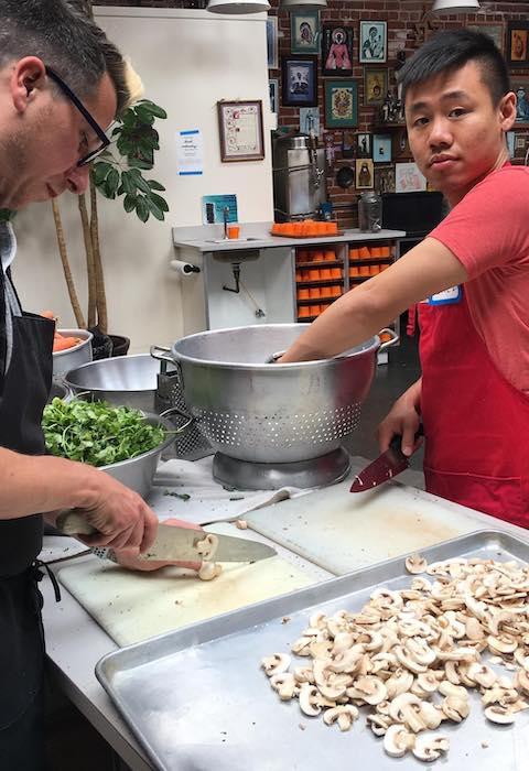 Chop mushrooms