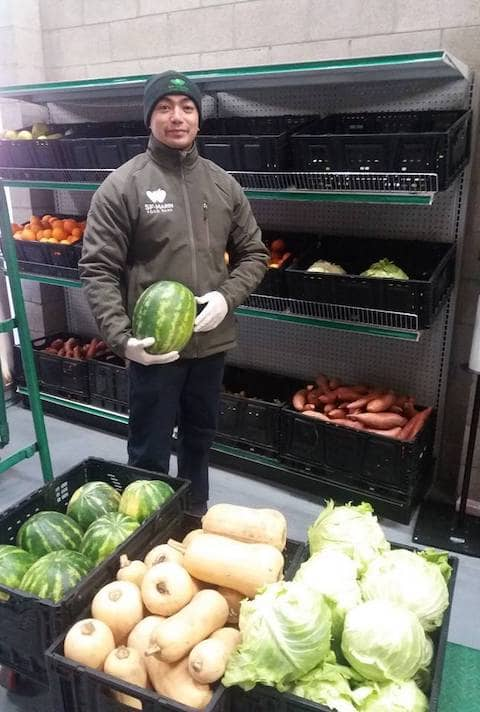 Here partner agencies, like after-school programs and homeless shelters could select fresh produce (like cabbage), grains, and donated non-perishable items.