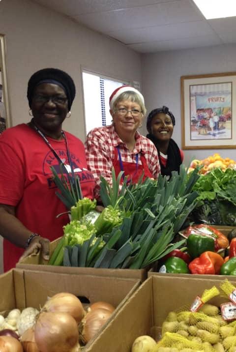Volunteers at Alameda Food Bank food pantry