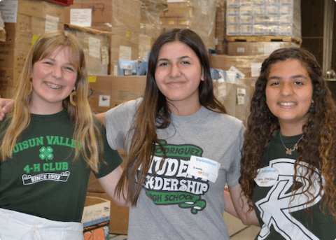 Ximona an her friends volunteering at Food Bank of Contra Costa and Solano