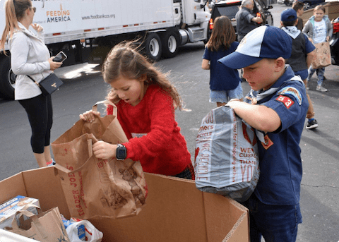 Kids volunteering at Food Bank of Contra Costa and Solano