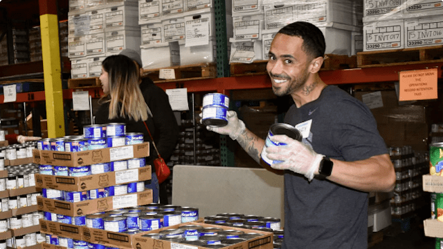 Harry volunteering at Food Bank of Contra Costa and Solano