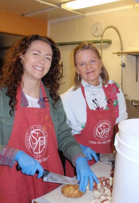 Volunteers helping prepare food at St. Vincent de Paul Society of Marin County