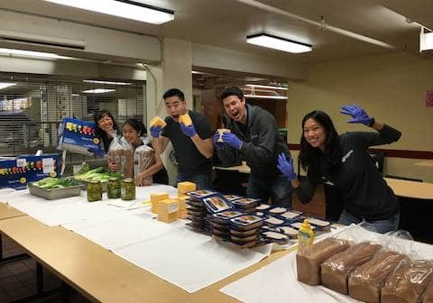 Volunteers at St Vincent de Paul Society of San Francisco preparing food for the community