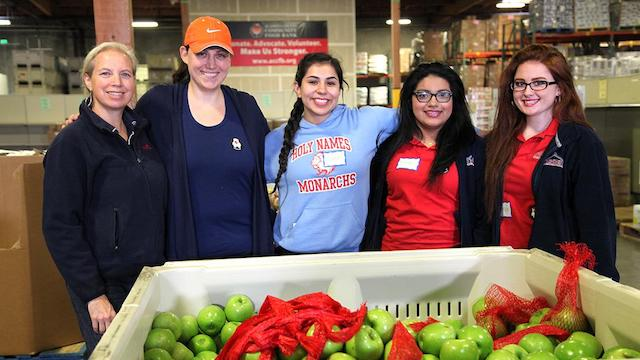 Students and staff from Holy Names High School at Alameda County Community Food Bank