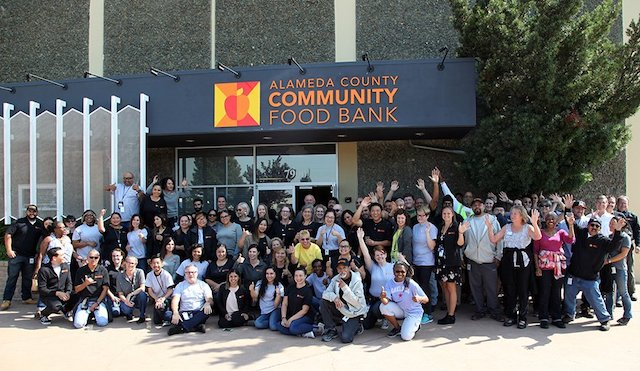 Alameda County Community Food Bank team next to their central office