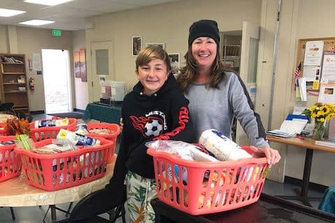 Los Cerros Middle School donates 44 Thanksgiving baskets for some of Loaves and Fishes of Contra Costa clients. We appreciate your kindness and for thinking of us.