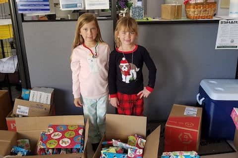 """At Tri-Valley Haven we greatly appreciate our donors. These girls, in First and Third Grade, donated gifts to families on """"Pajama Day"""" ❤️"""