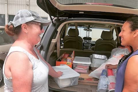 Melody saw our post on Nextdoor app, so she brought us lots of clothes & food donations