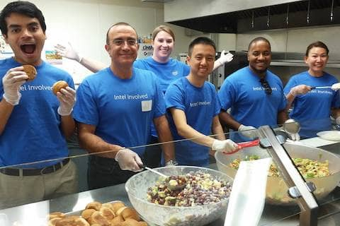 Thank you, Intel for volunteering for Loaves & Fishes Family Kitchen