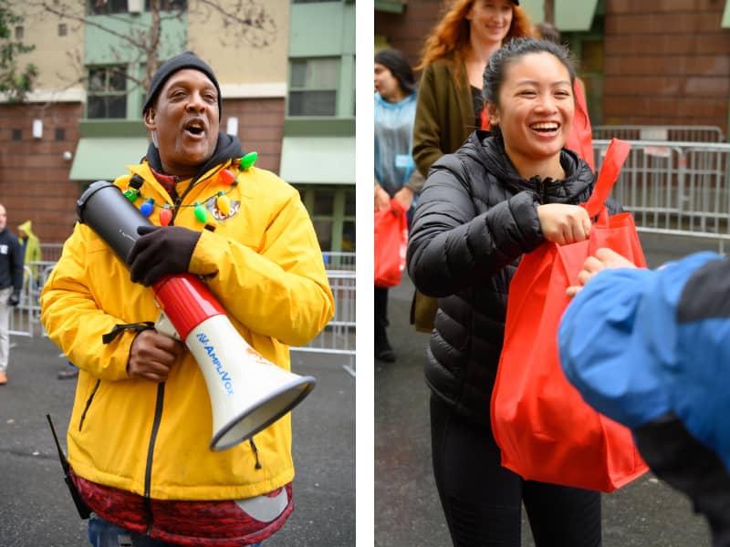 Volunteers at Glide grocery bag giveaway 2019