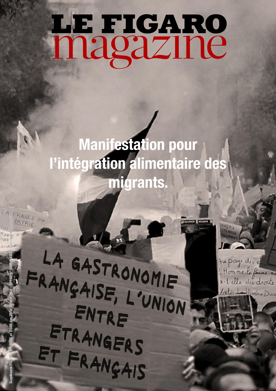"""Fausse une Le Figaro sur les manifestations pour """"l'intégration alimentaire des migrants"""". Design Fiction Imaginaire"""