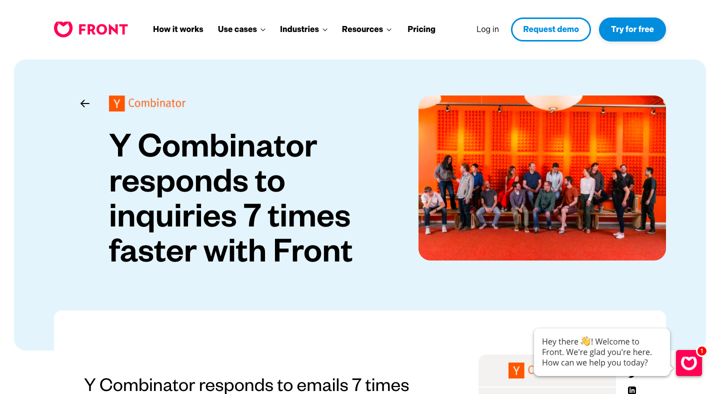 Y Combinator responds to inquiries 7 times faster with Front
