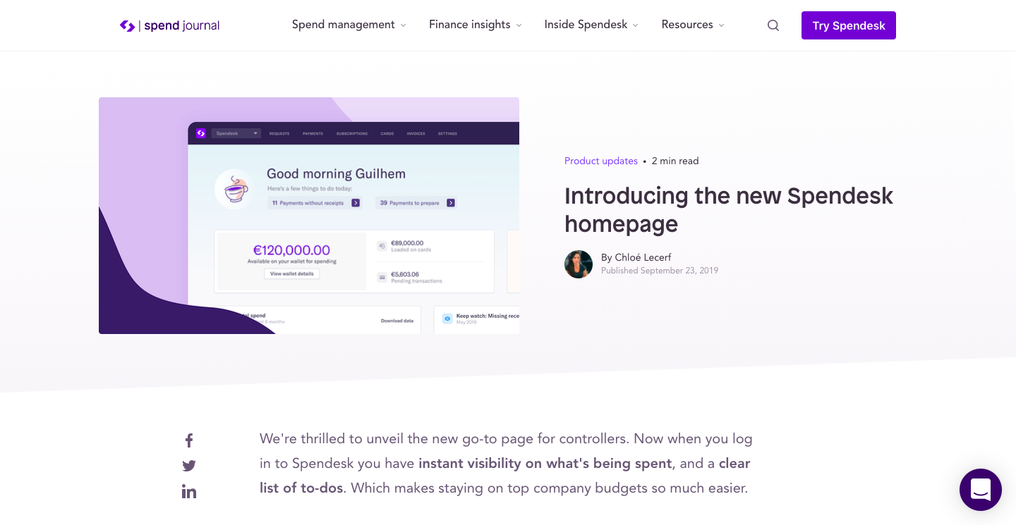 Introducing the new Spendesk homepage